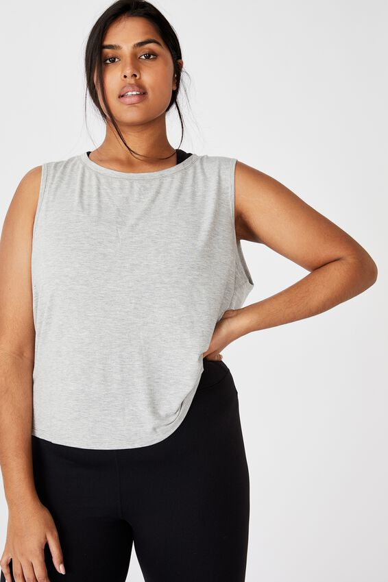 Curve Drape Cross Back Tank, GREY MARLE