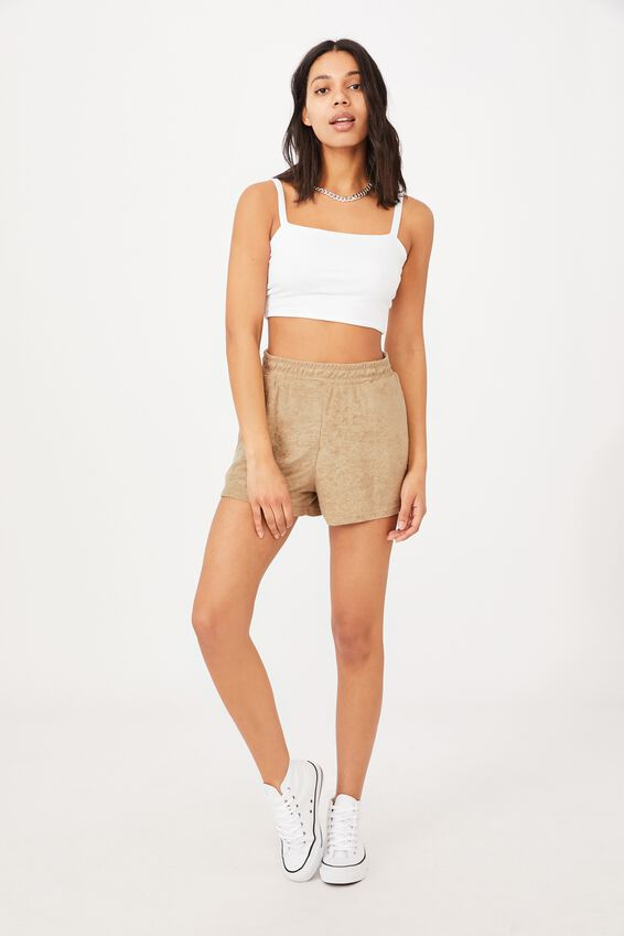Terry Towelling Short, FLAX GREY