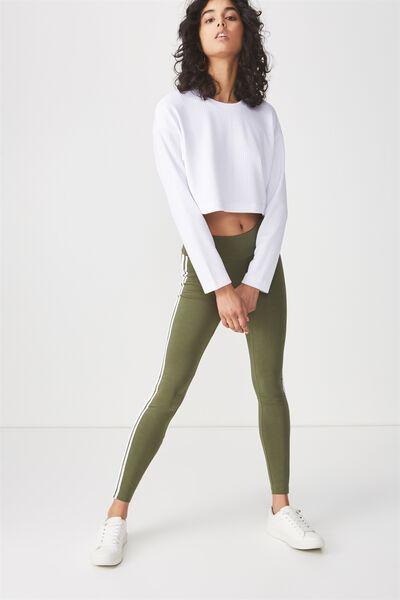 Tranquil Legging, SOFT KHAKI/WHITE SIDE STRIPES