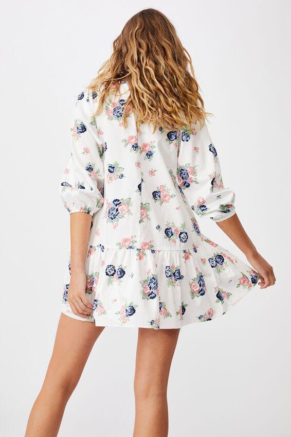 Woven Joselyn Long Sleeve Smock Mini Dress - Petit, KIRSTY ROSE WHITE