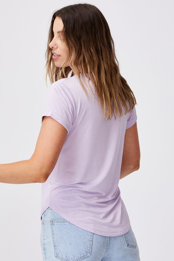 Kathleen Short Sleeve Top, LILAC BLOSSOM