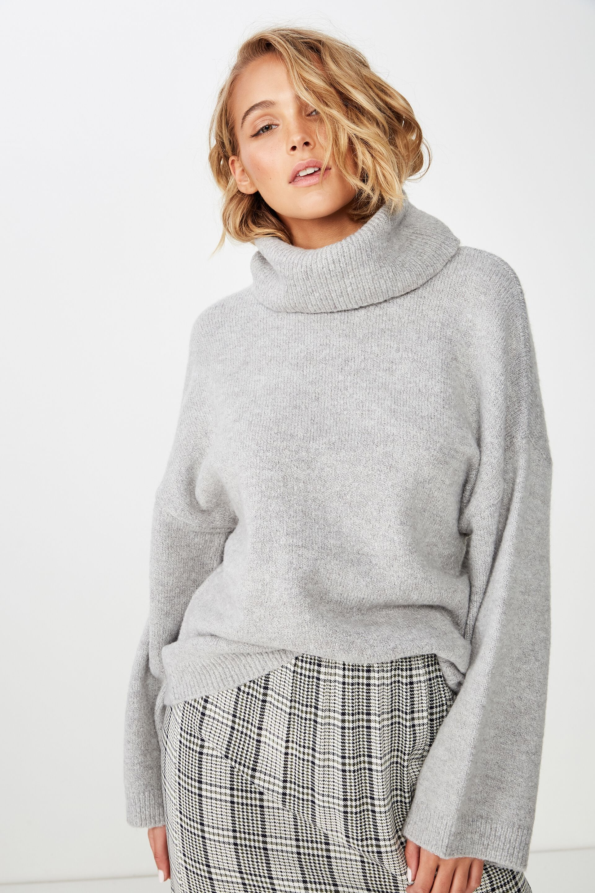 Minty Os Roll Neck Pullover, GREY MARLE