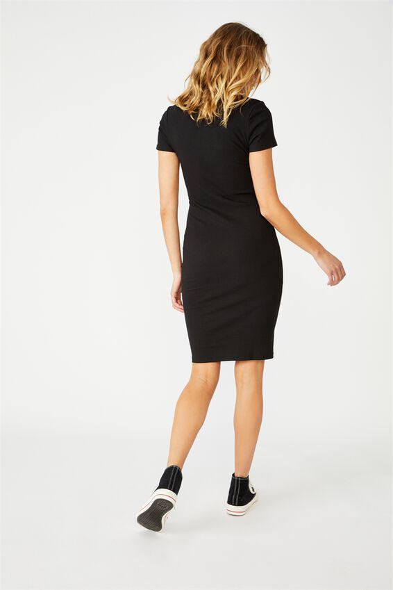 Essential Short Sleeve Midi Dress, BLACK RIB