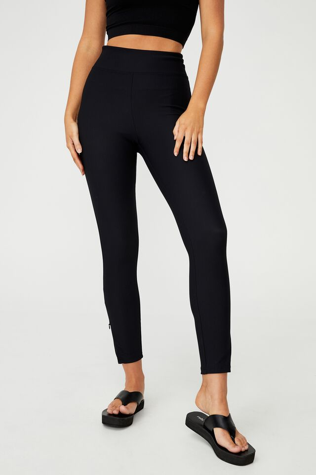 Side Zip Rib Legging, BLACK