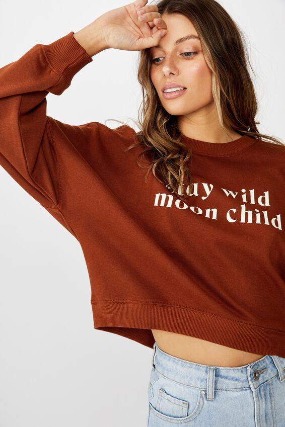 Harper Boxy Crew Graphic Fleece, STAY WILD MOON CHILD/TORTOISE SHELL