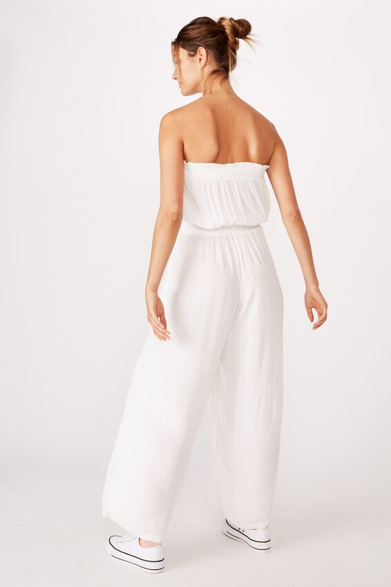 Woven Nicole Strapless Jumpsuit, WHITE