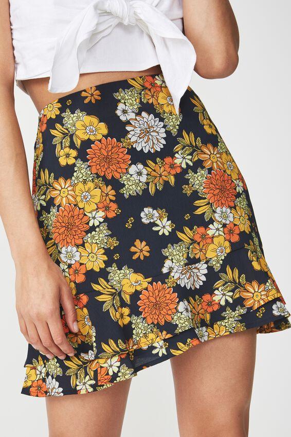 Woven Alana Mini Skirt, LISA FLORAL DARK SAPPHIRE