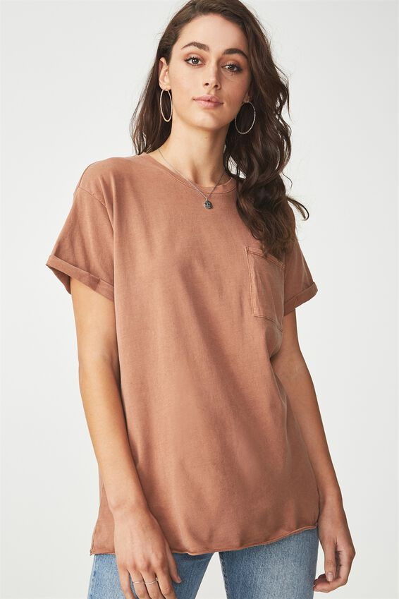 The One Boyfriend Pocket Tee, WASHED GINGERBREAD