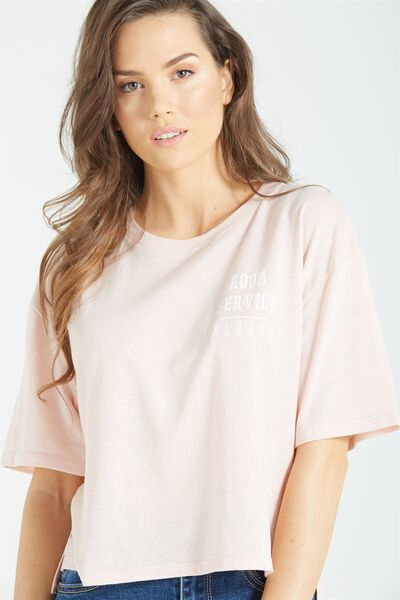 Tbar Jessie Elbow Graphic Tee, ROOM SERVICE/MISTY PINK