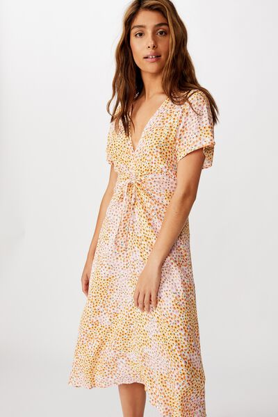 Woven Issa Gathered Front Midi Dress, MANDY MULTI DITSY GARDENIA