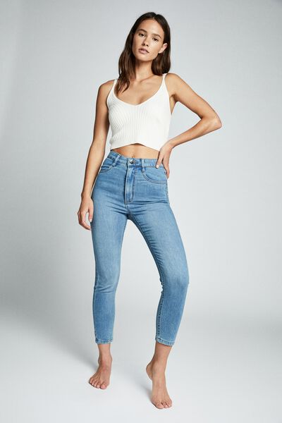High Rise Cropped Super Stretch, BELLS BLUE POCKETS