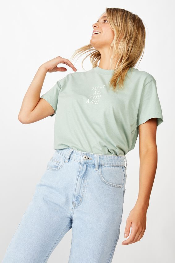 Classic Slogan T Shirt, JUST AS YOU ARE/JADE