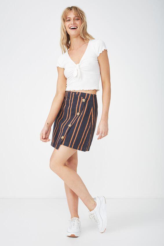 Woven Lulu Mini Skirt, SALMA STRIPE DARK SAPPHIRE