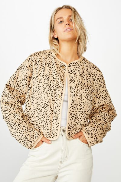 Cropped Quilted Bomber, PIPER ANIMAL MELLOW BLUFF