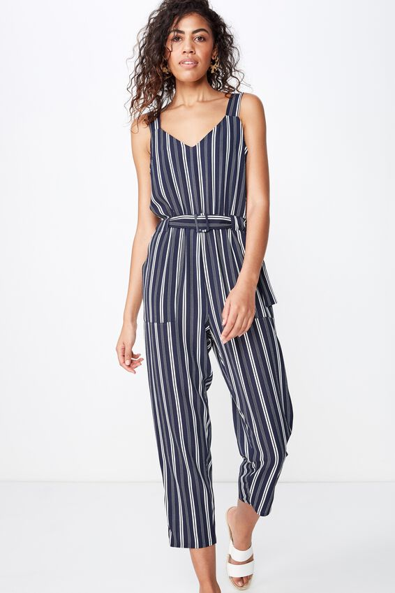 Woven Jillian Strappy Jumpsuit, MAYA STRIPE MOOD INDIGO