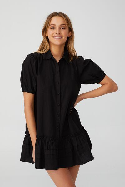Woven Petite Rosie Mini Dress, BLACK