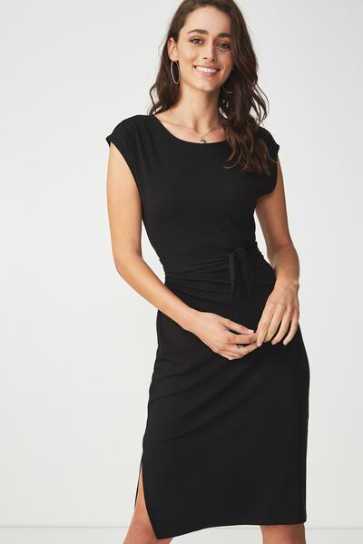 Fiona Tie Waist Midi Dress, BLACK