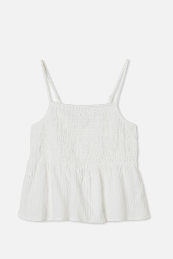 Babydoll Shirred Cami, WHITE