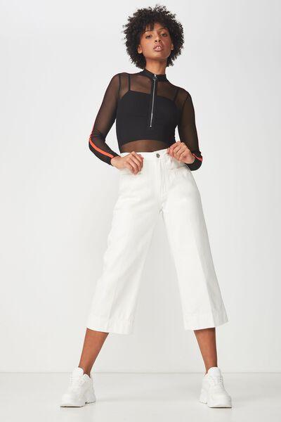 Mesh Long Sleeve Zipper Bodysuit, BLACK/FLAME SCARLET
