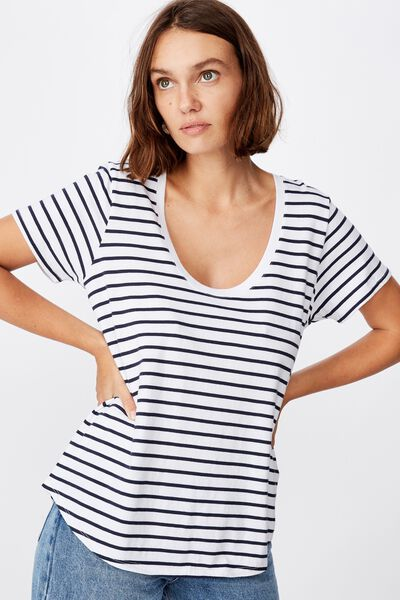 The One Scoop Tee, COLE STRIPE WHITE MOONLIGHT