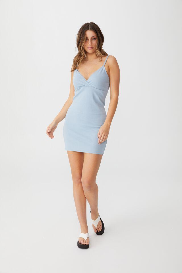 Darla Lace Cross Front Mini Dress, NEW WAVE BLUE