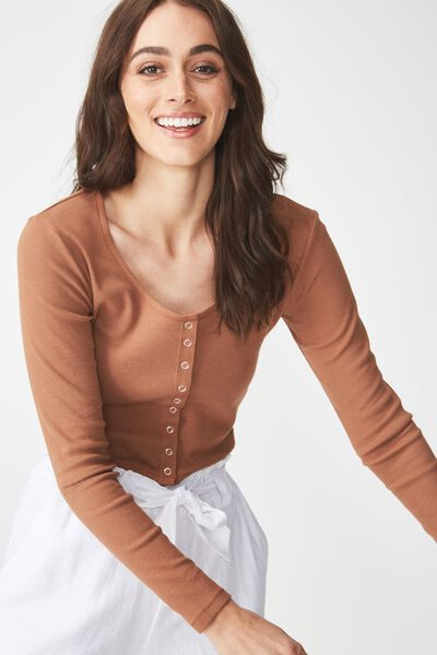 Matilda Cropped Henley Long Sleeve Top, CACAO