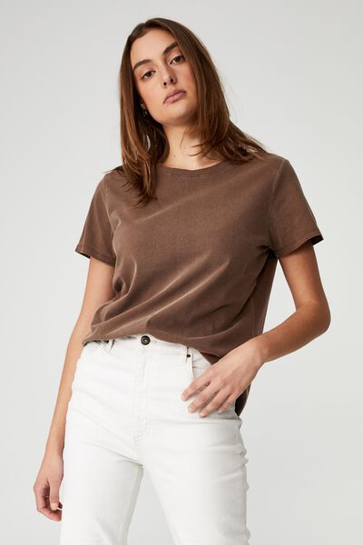 The One Crew Tee, WASHED RICH CHOCOLATE