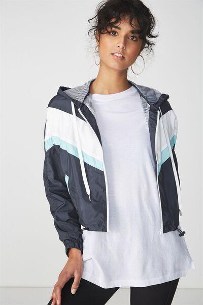 Nellie Spray Jacket, NAVY WITH WHITE AQUA SPLICE
