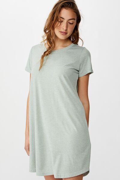 Tina Tshirt Dress 2, MINI MOLLY STRIPE GREEN BAY MARLE/WHITE