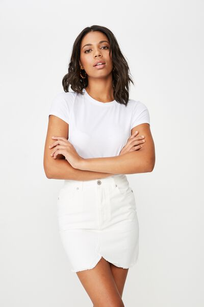 The Re-Made Mini Denim Skirt, WHITE