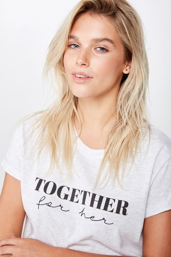 Girl Up Tee, TOGETHER FOR HER TEXT/SILVER MARLE