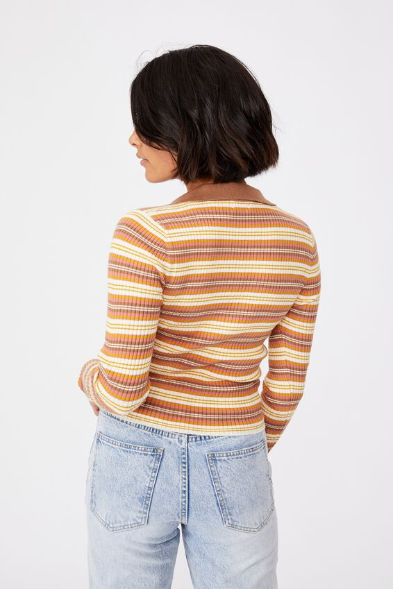 Long Sleeve Knit Rib Polo, FRANKIE STRIPE LEAF BROWN