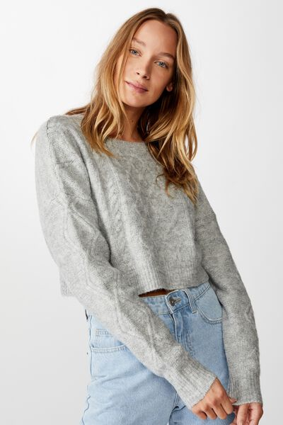 Cable Cropped Crew Neck, GREY MARLE