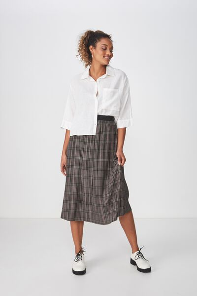 Woven Dolly Check Pleated Midi Skirt, GREY CHECK