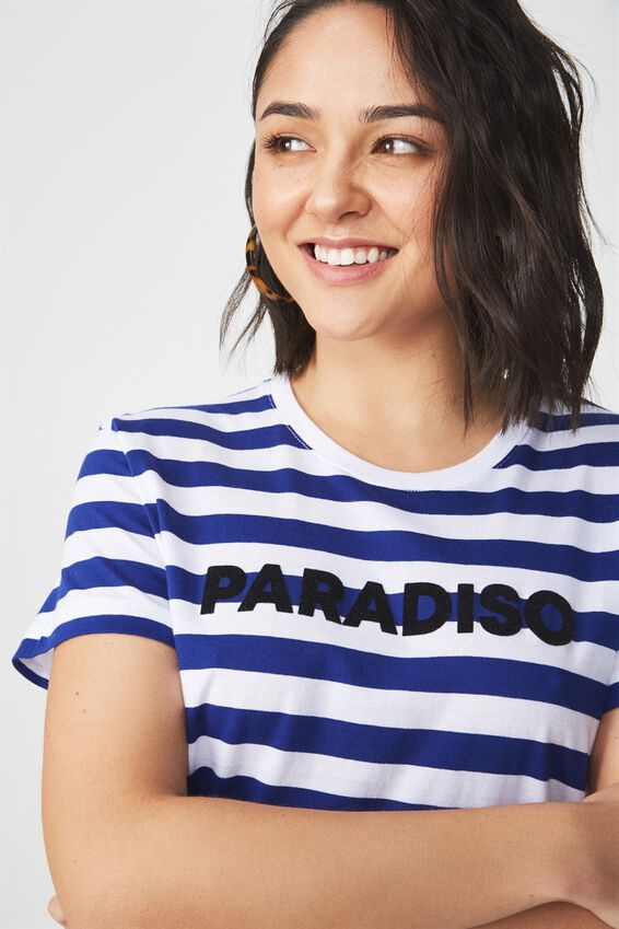 Tbar Fox Graphic T Shirt, PARADISO SAPPHIRE STRIPE/WHITE