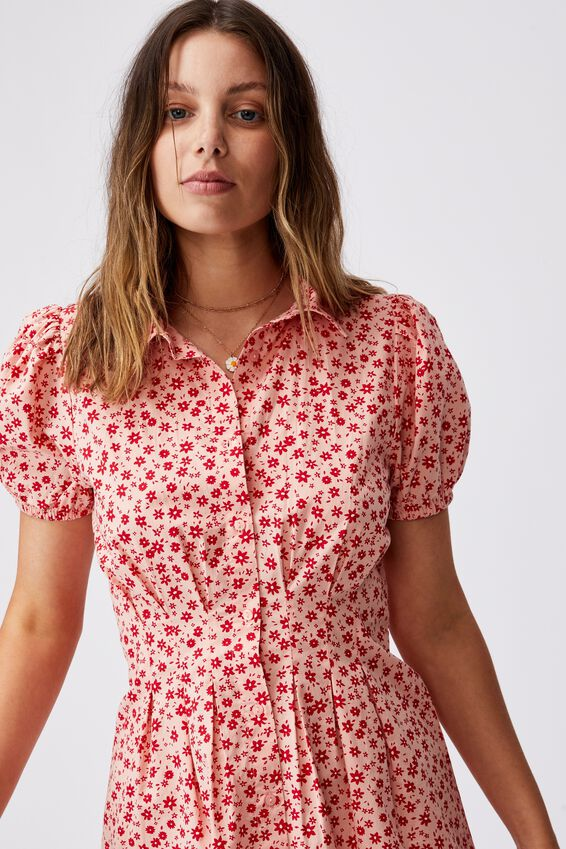 Woven Bambie Button Front Shirt Dress, SUSIE DITSY PEACH PINK