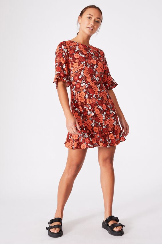 Woven Thelma Retro 3/4 Slv Fit And Flare Shift Min, JANIE FLORAL VINTAGE COPPER