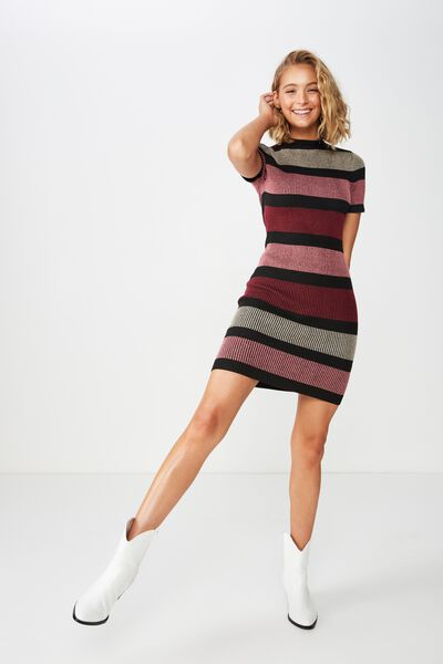 Lottie True Knit Mini Dress, MIA MULTI STRIPE CABERNET