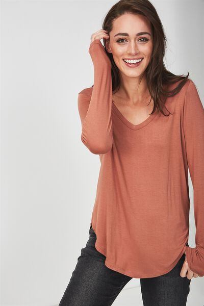 Karly Long Sleeve Top, COPPER BROWN