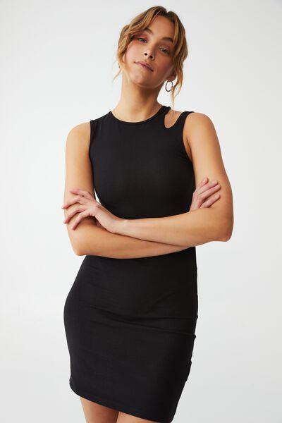 Petite Eden Cut Out Shoulder Mini Dress, BLACK