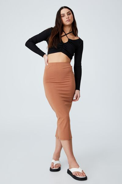 Essential Midi Skirt, SOFT CAMEL