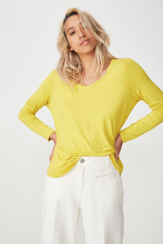 Karly Long Sleeve Top, AMBER GREEN