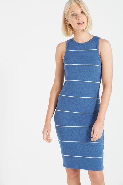 Lena Midi Dress, DENIM MARLE/MILK LARGE WIDE STRIPE