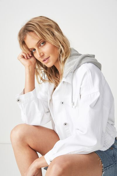 Hooded Denim Bomber, WHITE