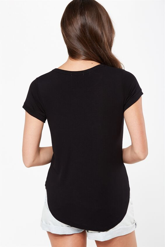Kathleen Short Sleeve Top, BLACK