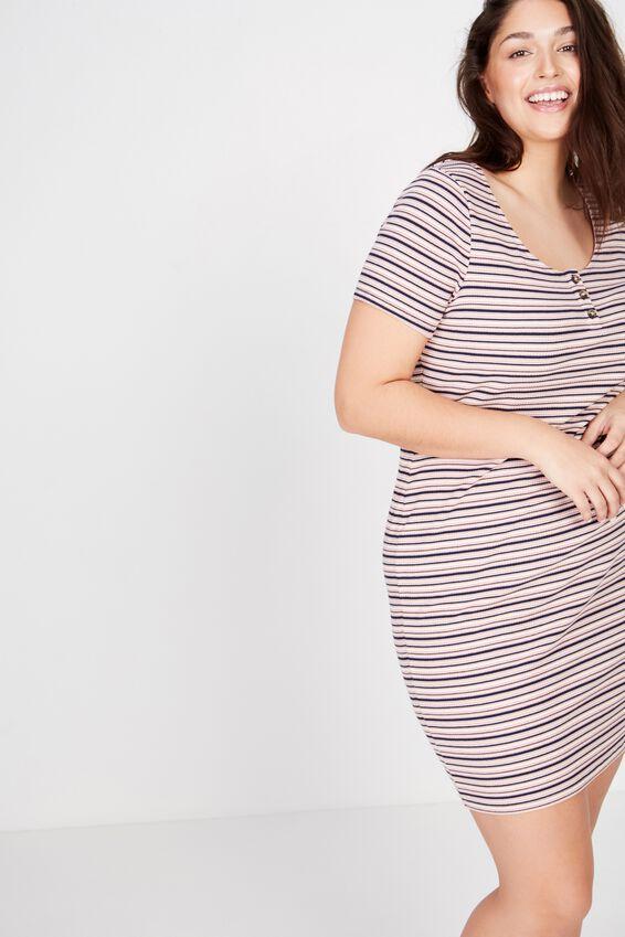 Curve Gabby Short Sleeve Mini Dress, ABI STRIPE CLOUD GREY