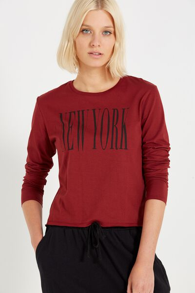 Tbar Long Sleeve Graphic Chop Tee, NEW YORK/GARNET
