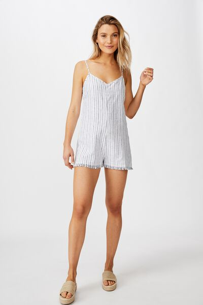 Woven Luna Strappy Playsuit, ANGIE STRIPE MOONLIGHT