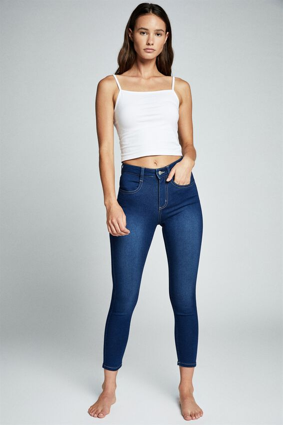 Mid Rise Cropped Super Stretch, DEEP BLUE POCKETS