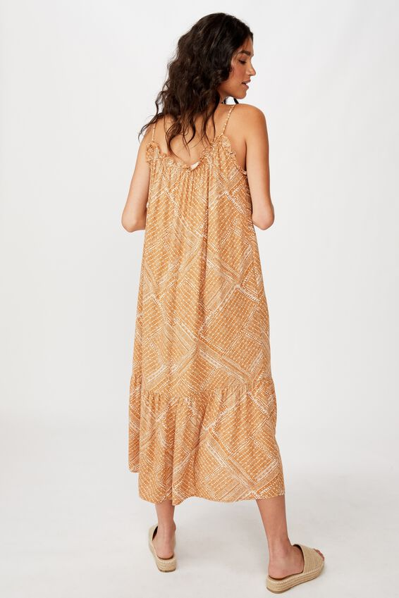 Woven Serena Straight Neck Midi Dress, BILLIE SPLICED GEO LION